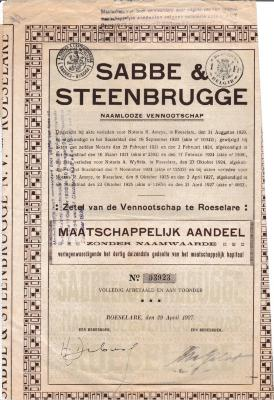 Aandelen NV Sabbe & Steenbrugge, Roeselare