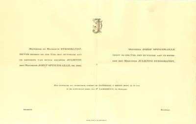 Verlovings- en huwelijksaankondiging van dhr Jozef Spincemaille en mevr Julienne Stroobandt, Rumbeke, 1929