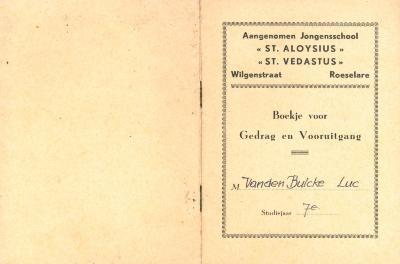 Boekje voor Gedrag en Vooruitgang in de Aangenomen Jongensschool St Aloysius en St Vedastus Roeselare, 1959