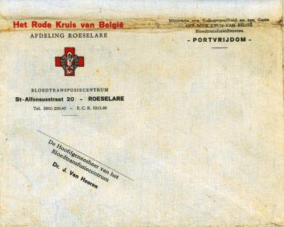 Briefomslag Bloedtransfusiecentrum Het Rode Kruis van België afdeling Roeselare, Roeselare