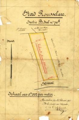 Een opmetingsplan van een perceel bouwgrond, Roeselare, 1923