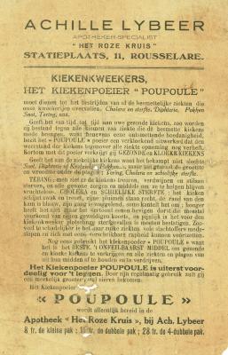 Informatieflyer kiekenpoeder Poupoule , Roeselare