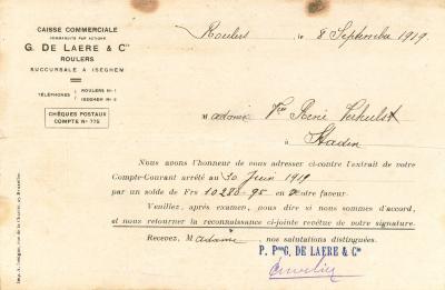 Een schrijven van de financiële instelling G. De Laere & Co, Roeselare, 1919