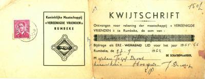 Kwijtschrift koninklijke Maatschappij Vereenigde Vrienden, Rumbeke, 1965