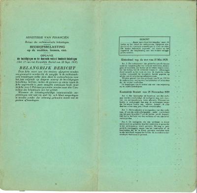 Belastingsfiche Frans Vandenberghe, Roeselare, 1944