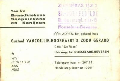 Promotiemateriaal Gustaaf Vancoillie-Hoornaert, Roeselare Beveren