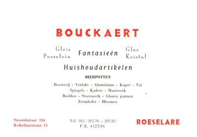Bedrijfskaart huishoudartikelen Bouckaert,  Roeselare