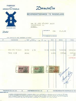 Factuur Dumoulin, fabriek van Granito-tegels, Roeselare , 1968