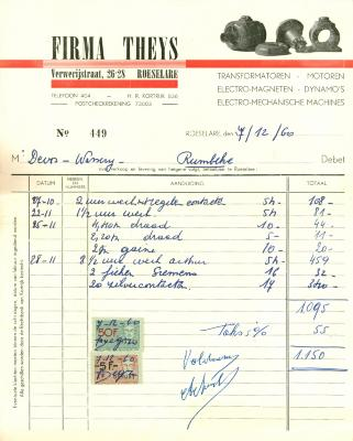 Factuur Firma Theys, Roeselare , 1960