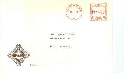 De uitnodiging voor de opening van de bibliotheek, Rumbeke, 1978
