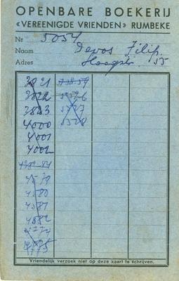 Bibliotheekkaart van de openbare boekerij, Rumbeke