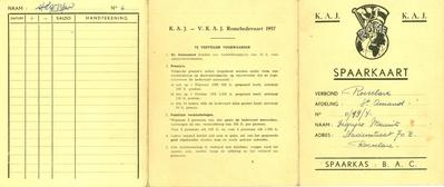 Spaarkaart Rome-bedevaart van KAJ en VKAJ, Roeselare, 1957