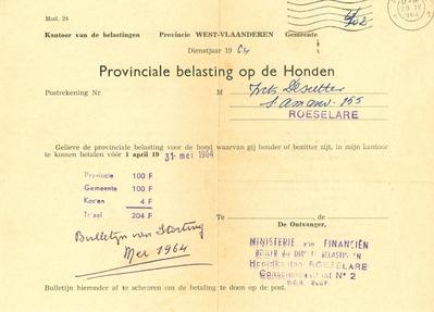 Aanslag provinciale en gemeentebelasting op honden, Roeselare, 1964
