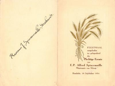 Spijskaart voor het feestmaal ter gelegenheid van de eremis van E.P. Alfred Spincemaille, Rumbeke, 1954