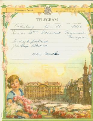 Huwelijkstelegrammen voor de familie Hoornaert-Rommel 3
