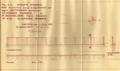 Plan scheidingsmuur, Rumbeke, 1951