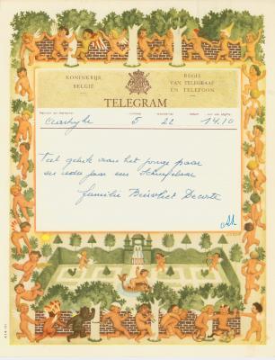Huwelijkstelegram verzonden door de familie Biervliet-Decorte