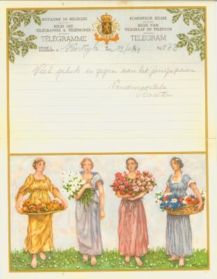 Huwelijkstelegram verzonden door Rosette Vandemoortele