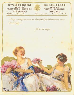 Huwelijkstelegram verzonden door de familie Leys