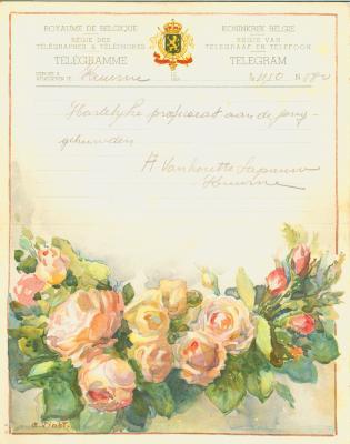 Huwelijkstelegram verzonden door A. Van houtte-Sapauw