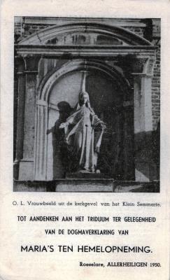Bidprentje tot aandenken aan het triduum ter gelegenheid van de dogmaverklaring van Maria's ten hemelopneming Roeselare, 1950