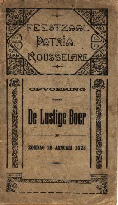 Programmabrochure Zangspel De Lustige Boer, Roeselare, 1923