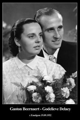 Huwelijksfoto Gaston Beernaert en Godelieve Delaey,  Emelgem, 1952