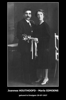 Huwelijksfoto Joannes Houthoofd en Maria Simoens, Emelgem, 1927