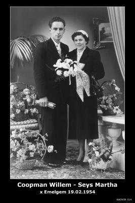 Huwelijksfoto Willem Coopman en Martha Seys, Emelgem, 1954