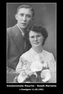 Huwelijksfoto Maurits Vandommele en Mariette Raedt,  Emelgem, 1951