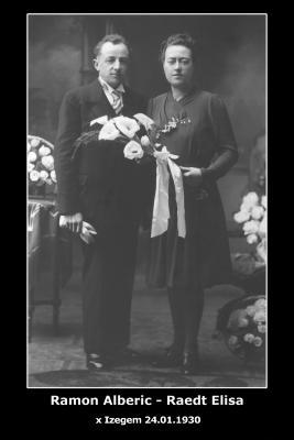 Huwelijksfoto Alberic Ramon - Elisa Raedt , Izegem, 1930