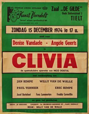 """Affiche van de Toneel- en Operetteopvoering """"Clivia""""  door het  Roeselaars Koninklijk Lyrisch Gezelschap """"Kunst Veredelt"""", Tielt, 1974"""