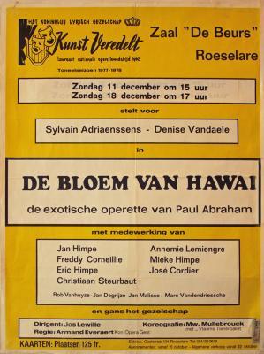 """Affiche van de Toneel- en Operetteopvoering """"De Bloem van Hawaï""""  door het  Roeselaars Koninklijk Lyrisch Gezelschap """"Kunst Veredelt"""", Roeselare, 1977"""