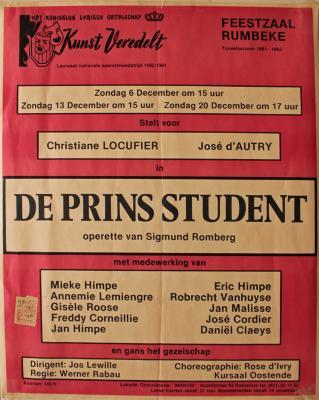 """Affiche van de Toneel- en Operetteopvoering """"De Prins Student"""" door het  Roeselaars Lyrisch Gezelschap """"Kunst Veredelt"""", Roeselare, 1981"""