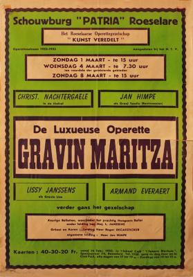 """Affiche van de Toneel- en Operetteopvoering """"Gravin Maritza"""" door het  Roeselaars Operettegezelschap """"Kunst Veredelt"""", Roeselare, 1952"""