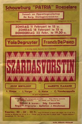 """Affiche van de Toneel- en Operetteopvoering """"Szardasvorstin"""" door het  toneel- en operettegezelschap """"de Burgerlijke Oorlogsverminkten"""", Roeselare, 1951"""