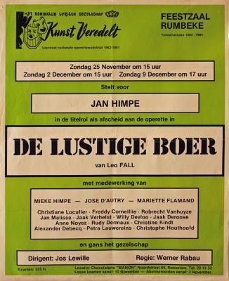 """Affiche van de Toneel- en Operetteopvoering """"De Lustige Boer"""" door het  Roeselaars Lyrisch Gezelschap """"Kunst Veredelt"""", Roeselare, 1984"""
