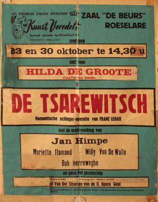"""Affiche van de Toneel- en Operetteopvoering """"De Tsarewitsch""""  door het  Roeselaars Koninklijk Lyrisch Gezelschap """"Kunst Veredelt"""", Roeselare, 1966"""