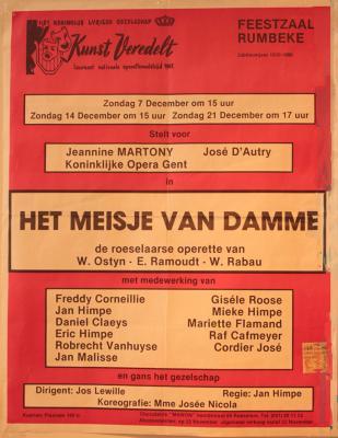 """Affiche van de Operetteopvoering """"Sepp'l"""" door het  toneel- en operettegezelschap """"Het meisje van Damme"""", Roeselare, 1980"""