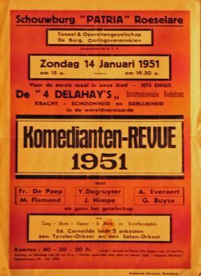 """Affiche van de revuevoorstelling """"Komedianten-revue 1951"""" door het  Toneel- en Operettegezelschap """"de Burgerlijke Oorlogsverminkten"""", Roeselare, 1951"""