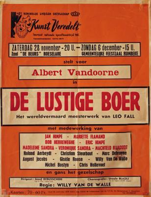 """Affiche van de Toneel- en Operetteopvoering """"De Lustige Boer""""  door het  Roeselaars Koninklijk Lyrisch Gezelschap """"Kunst Veredelt"""", Roeselare, 1970"""