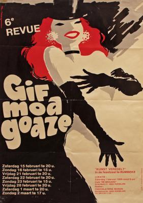 """Affiche van de Toneel- en Operetteopvoering """"Gif moa goaze"""" door het  Roeselaars Lyrisch Gezelschap """"Kunst Veredelt"""", Roeselare, 1986"""