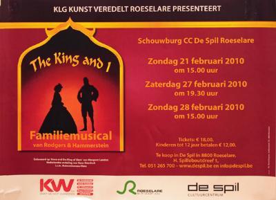 """Affiche van de Toneel- en Operetteopvoering """"The King and I"""" door het  Roeselaars Lyrisch Gezelschap """"Kunst Veredelt"""", Roeselare, 2010"""