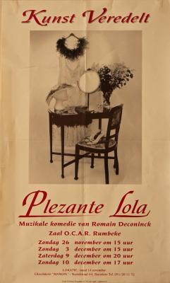 """Affiche van de Muzikale comedie """"Plezante Lola"""" door het  Roeselaars Lyrisch Gezelschap """"Kunst Veredelt"""", Roeselare, 1995"""