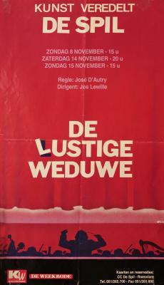 """Affiche van de Toneel- en Operetteopvoering """"De Lustige Weduwe"""" door het  Roeselaars Lyrisch Gezelschap """"Kunst Veredelt"""", Roeselare, 1998"""