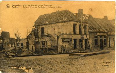 Vernielde huizen op de hoek van de Zuidstraat, de Rijselstraat en de Bollenstraat
