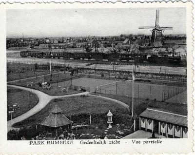 Park Rumbeke, spoorweg op achtergrond, jaren 1930
