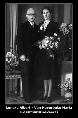 Huwelijk Albert Loncke - Maria Van Haverbeke, Ingelmunster, 1941