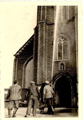Brandweeroefening, Gits, 1950