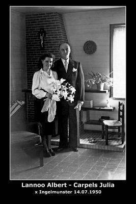 Huwelijk Albert Achiel Lannoo - Julia Carpels, Ingelmunster, 1950